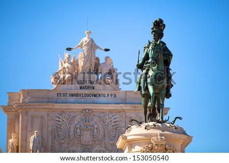Bronze Statue of Jose I, in Commerce Square of Lisbon, Portugal. - stock photo