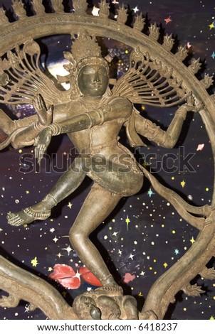 Bronze statue of the Dancing Siva called Nataraja (circa 11th century AD) - stock photo