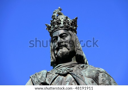 Bronze Statue of the eleventh King of Czech and Roman Emperor Charles IV. in Prague - stock photo