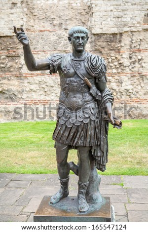 Bronze statue of the roman emperor Trajan. London, England - stock photo