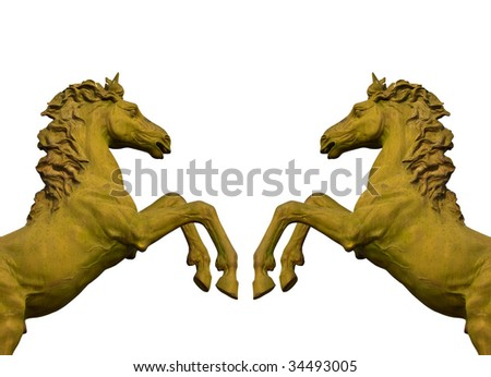 bronze statue of two horses isolated on white