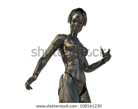 Bronze steel cyborg with red eyes isolated on white / Robotic woman - stock photo
