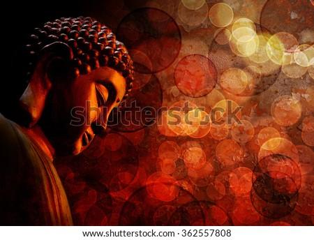 Bronze Zen Buddha Statue Meditating with Blurred Textured Red Background - stock photo