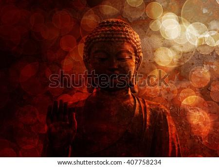 Bronze Zen Buddha Statue Raised Palm with Blurred Textured Red Background - stock photo