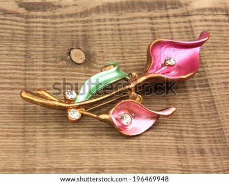 brooch  In the wooden background - stock photo
