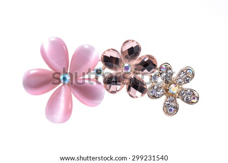 brooch with flowers isolated on white - stock photo