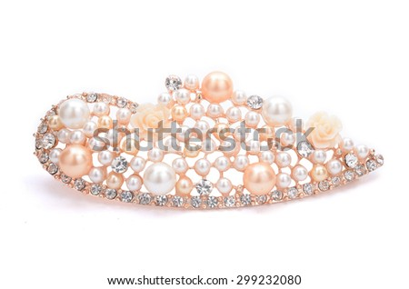 brooch with pink pearls isolated on white