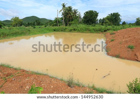 Brook for Source of Agriculture with Blue Sky. - stock photo