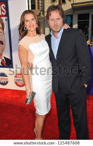 Brooke Shields & husband Chris Henchy at the Los Angeles premiere of The Campaign at Grauman's Chinese Theatre, Hollywood. August 3, 2012  Los Angeles, CA Picture: Paul Smith - stock photo