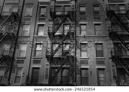 Brooklyn brickwall facades in New York US USA - stock photo