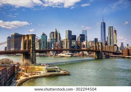 Brooklyn Bridge and Financial District, New York - stock photo
