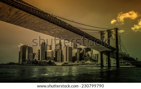 Brooklyn Bridge and Lower Manhattan  - stock photo