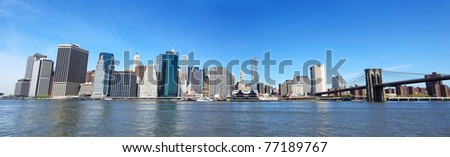 Brooklyn Bridge and Lower Manhattan panorama, New York