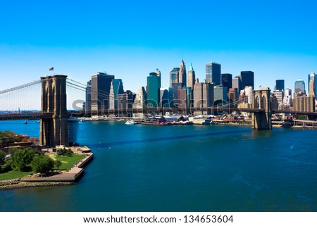 Brooklyn Bridge and Manhattan, New York City - stock photo