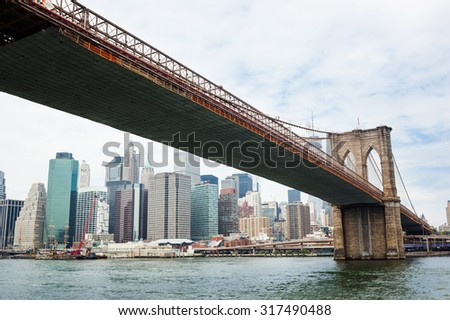 Brooklyn Bridge and Manhattan Skyline, New York City - stock photo