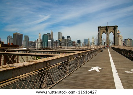 Brooklyn Bridge and Manhattan with cloudy sky