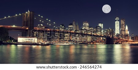 Brooklyn Bridge and The Moon at Night, New York City - stock photo