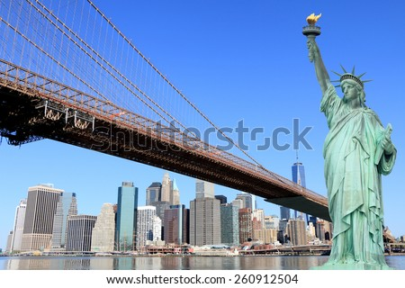 Brooklyn Bridge and The Statue of Liberty,  New York City - stock photo