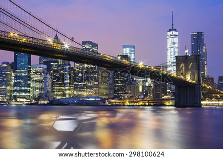 Brooklyn bridge at dusk, New York City - stock photo