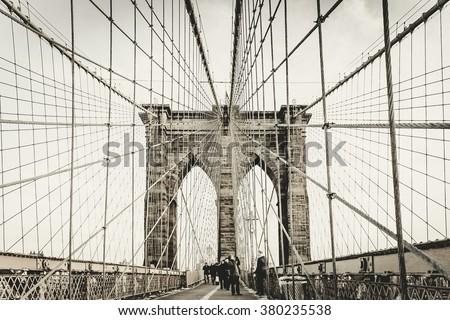 Brooklyn bridge at New York City, Famous landmark in America. - stock photo