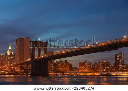 Brooklyn Bridge at night - stock photo