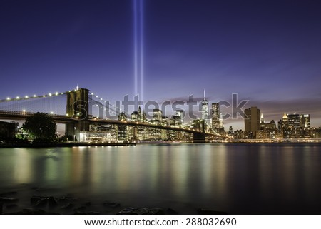 Brooklyn bridge at night, Manhattan, New York - stock photo