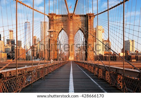 Brooklyn Bridge at sunrise, New York City , Manhattan - stock photo