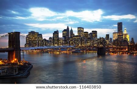 Brooklyn bridge at sunset - stock photo