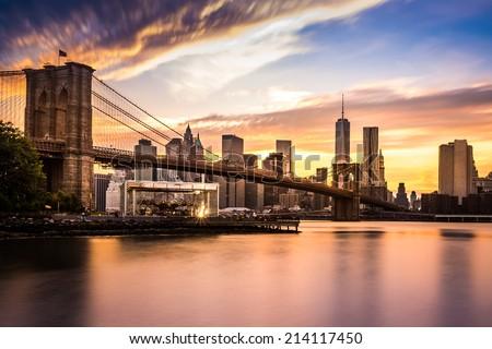 Brooklyn Bridge at sunset viewed from Brooklyn Bridge park - stock photo