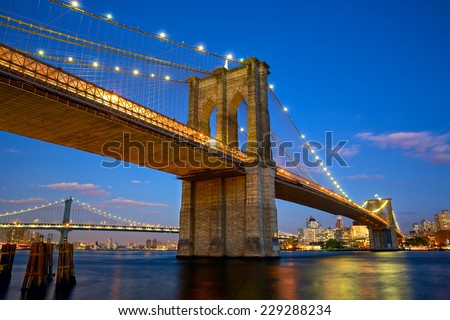 Brooklyn Bridge at twilight in New York City - stock photo