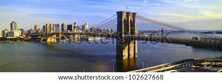 Brooklyn Bridge, Brooklyn View, New York - stock photo