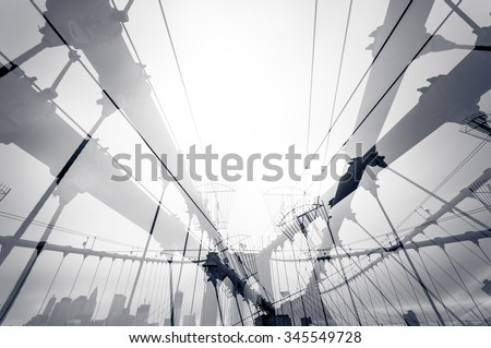 Brooklyn bridge double exposure - stock photo