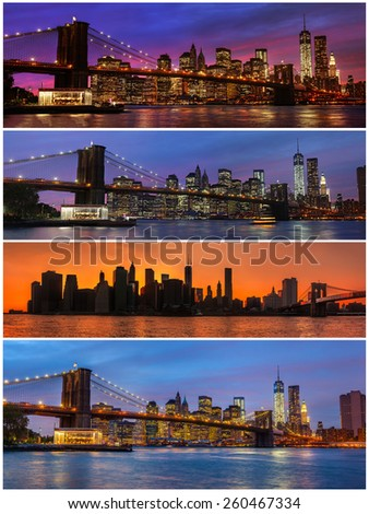 Brooklyn Bridge, East River and Manhattan with lights and reflections. New York. Set of 4 images - stock photo