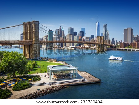 Brooklyn Bridge in New York City - aerial view - stock photo