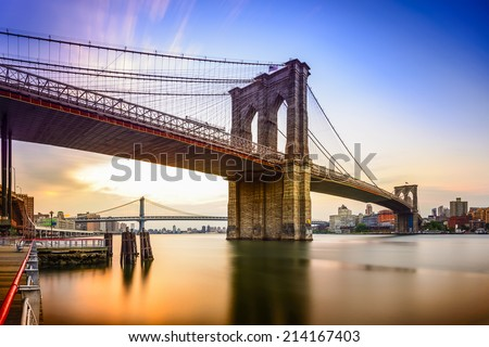 Brooklyn Bridge in New York City at dawn.