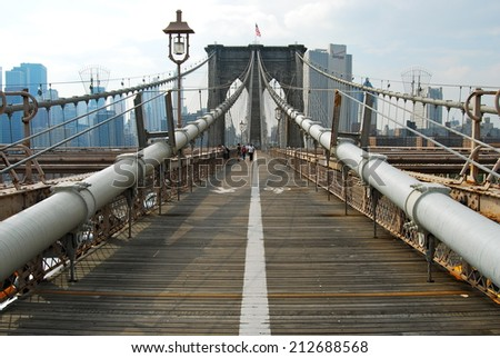 Brooklyn Bridge in New York City, USA. - stock photo