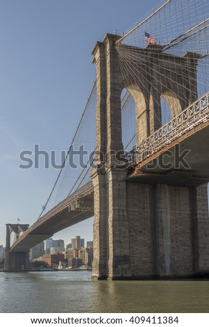 Brooklyn Bridge in the early morning from the Manhattan side looking at Brooklyn