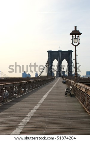 Brooklyn bridge in the morning - stock photo