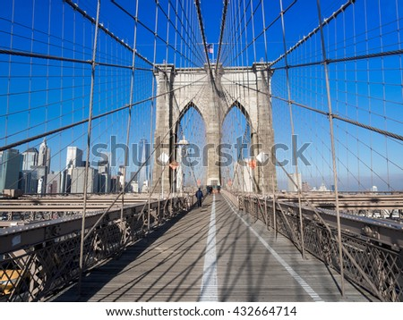 Brooklyn Bridge in the morning, New York, USA