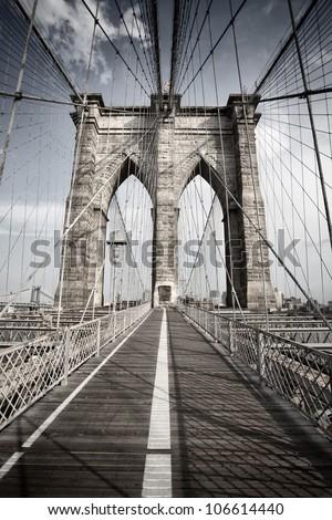 Brooklyn Bridge, New York - stock photo