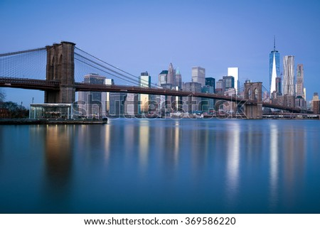 Brooklyn bridge, New York City - stock photo