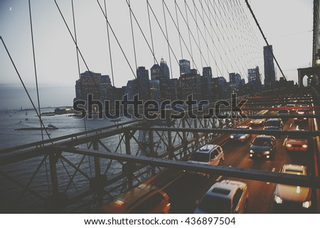 Brooklyn Bridge New York City Urban Metropolitan Concept - stock photo