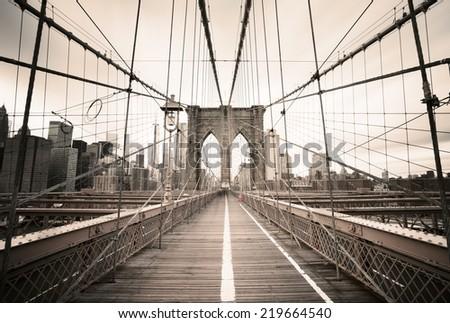 Brooklyn Bridge - New York, USA - stock photo