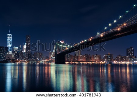 brooklyn bridge, night brooklyn bridge, nyc, new york city, usa