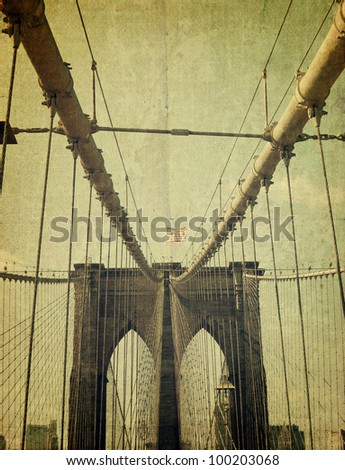 Brooklyn Bridge. Old style image - stock photo