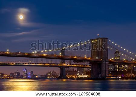 Brooklyn Bridge over East River, Lower Manhattan view, New York  - stock photo