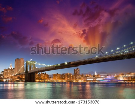 Brooklyn Bridge Silhouette in New York night.