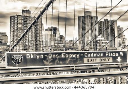 Brooklyn Bridge street signs. - stock photo