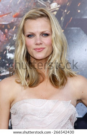 Brooklyn Decker at the Los Angeles premiere of 'Battleship' held at the Nokia Theatre L.A. Live in Los Angeles on May 10, 2012.  - stock photo