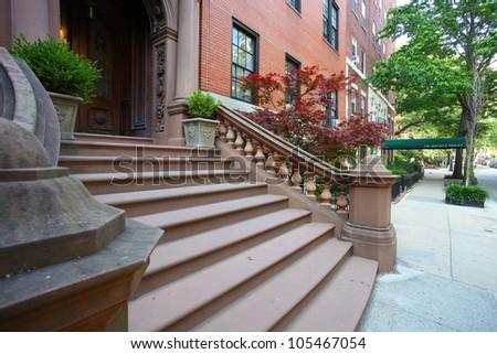 Brooklyn Heights Brownstone/Block of Brooklyn's oldest & most historic neighborhood - stock photo